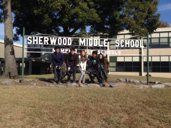 Photo by Sree Boyella Members of the White Station High School Community Service Club cleaned the campuses of several schools including Sherwood Middle School.