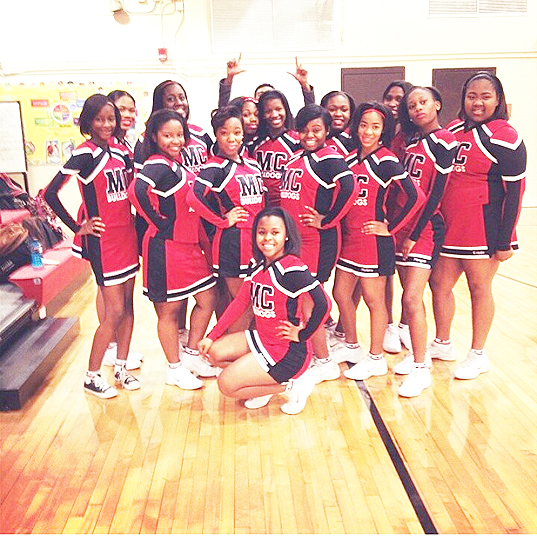 Photo by Eboni Johnson The Middle College High School cheerleaders get ready to give some school spirit for a sports game.