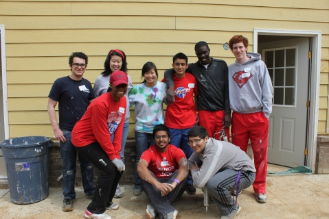 A Youth United group composed of students from Germantown High School work on a spring build home on April 5.                    				               Photo courtesy of Habitat for Humanity of Greater Memphis.