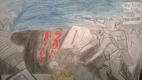 Chaos in Ferguson by Desmond Catron (KIPP Academy).