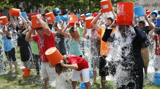 The ALS Ice Bucket challenge - participants in action. Photo provided by Khari Bowman.