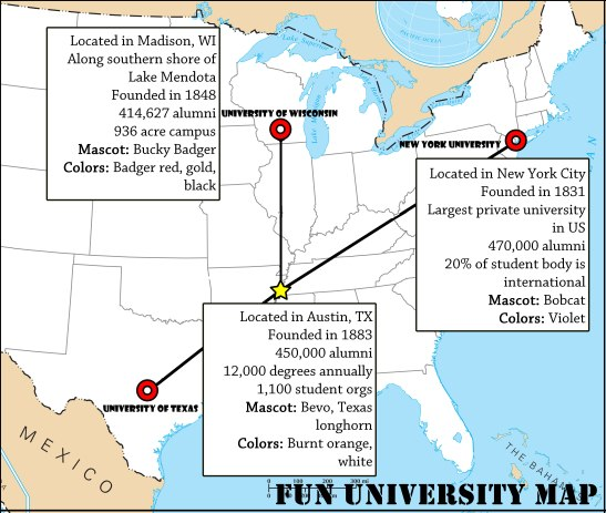 A map to these fun universities. Image by Elle Perry.