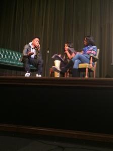 Cordova High School students Deidra Shores and Megan Williams interview Jacob Latimore. Photo provided by Deidra Shores.