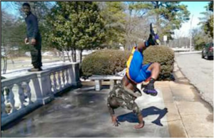Desmond Catron performs a back handspring at Overton Park. Photo provided by Desmond Catron.