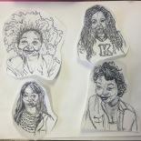 Illustration of camp workers by Trinity Walker. From left, Keturah Harris, Briawnna Jones, Morgan Moore, Alexis Ditaway.