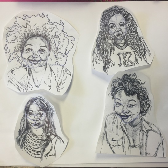 Illustration of camp workers by Trinity Walker. From left, Keturah Harris, Briawnna Jones, Morgan Moore, Alexis Ditaway.