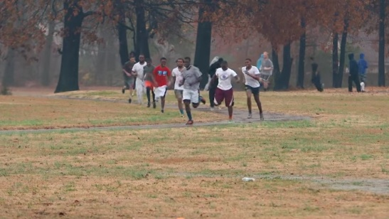 "Players are put through their paces in training. Photo from ""Power of Rugby"" documentary on Memphis Inner City Rugby."