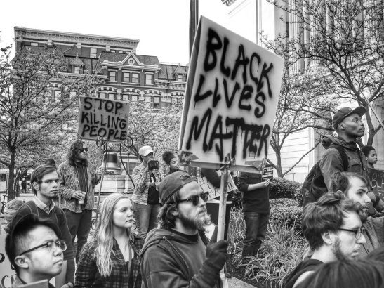 Supporters of the #blacklivesmatter movement during a rally earlier this year.