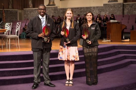 2015 Keeper of the Dream award winners Antonio Scott, Emma Johnson and Marlena Mireles. Photo courtesy of the National Civil Rights Museum.
